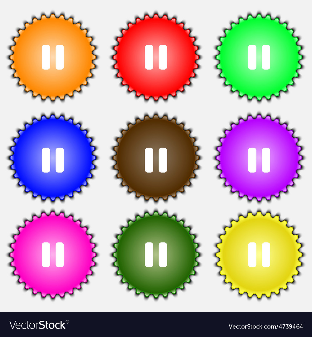 Pause icon sign a set of nine different colored vector | Price: 1 Credit (USD $1)