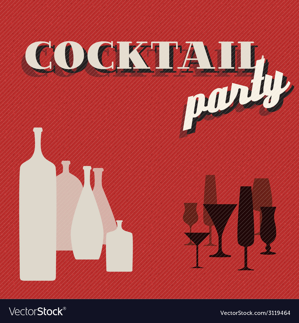 Retro coctail party invitation card vector | Price: 1 Credit (USD $1)