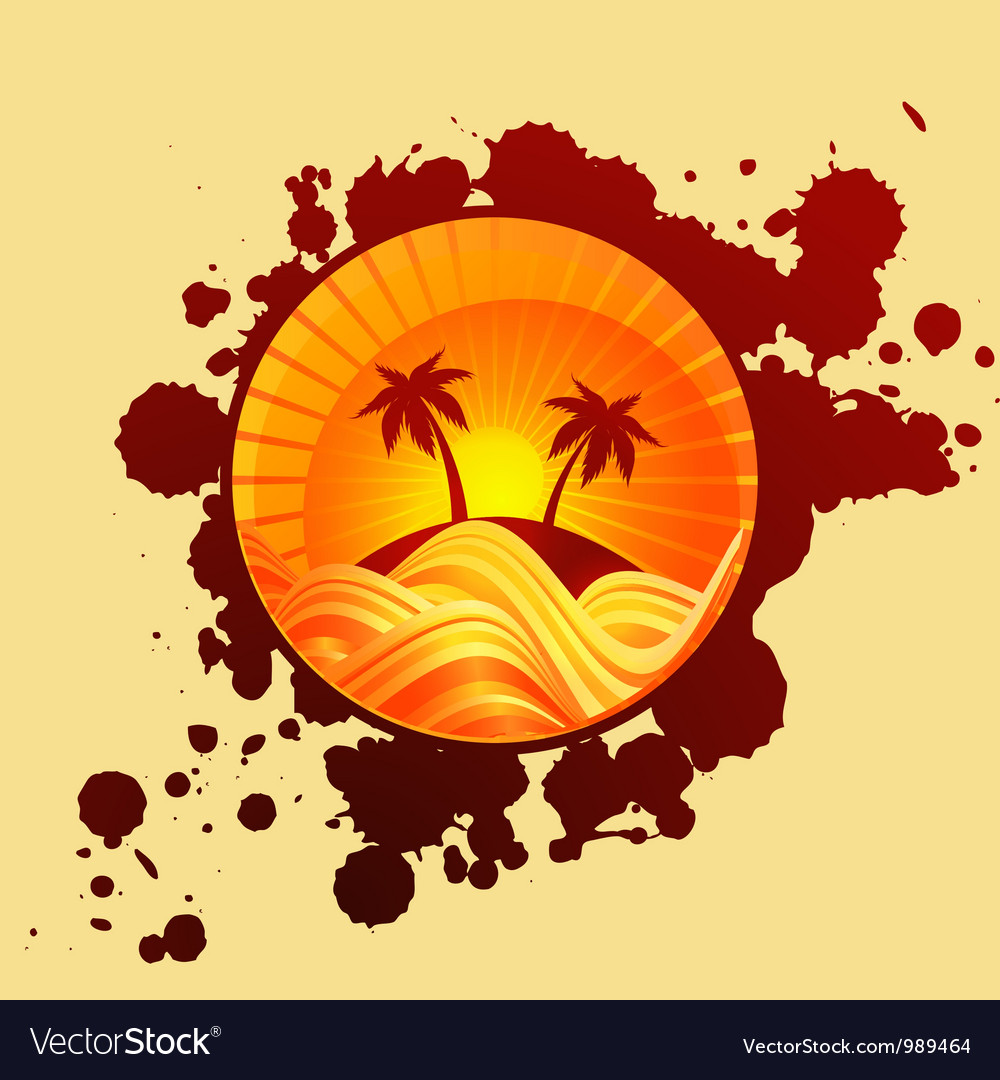 Round summer background of palms and sea in sunset vector | Price: 1 Credit (USD $1)