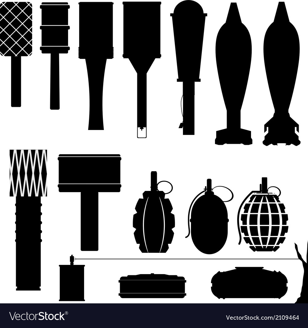 Set of silhouettes of grenades and mines vector | Price: 1 Credit (USD $1)