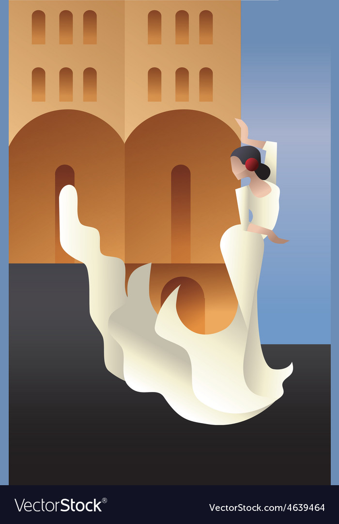 Styled spain flamenco dancer on sity landscape vector