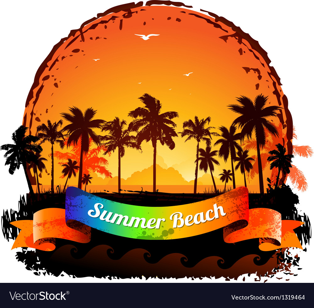 Summer holidays tropical sunset background vector | Price: 1 Credit (USD $1)
