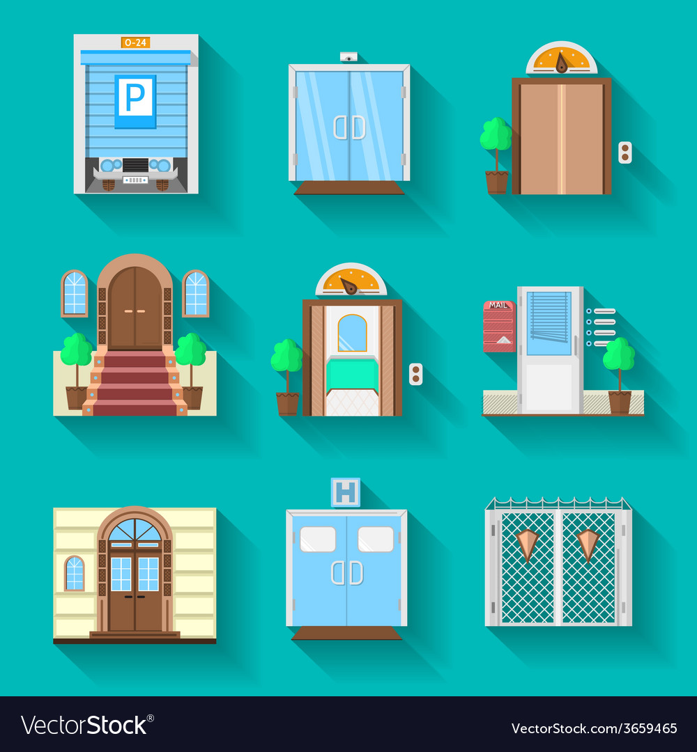Flat icons collection for entrance doors vector | Price: 1 Credit (USD $1)