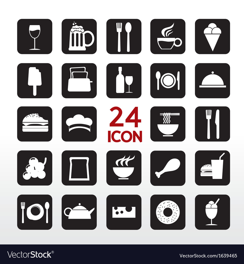 Food and beverage icon set eps10 vector | Price: 1 Credit (USD $1)