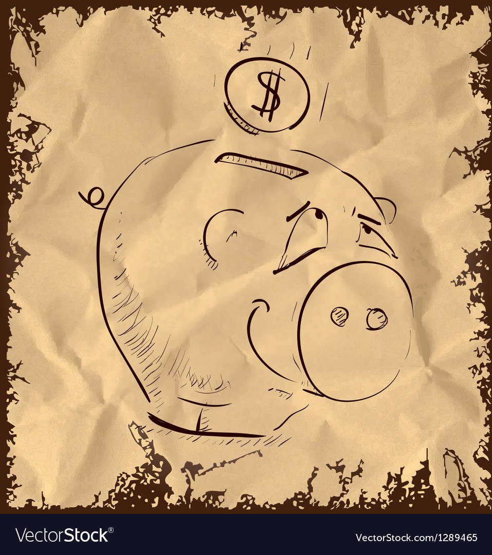 Money pig icon isolated on vintage background vector | Price: 1 Credit (USD $1)