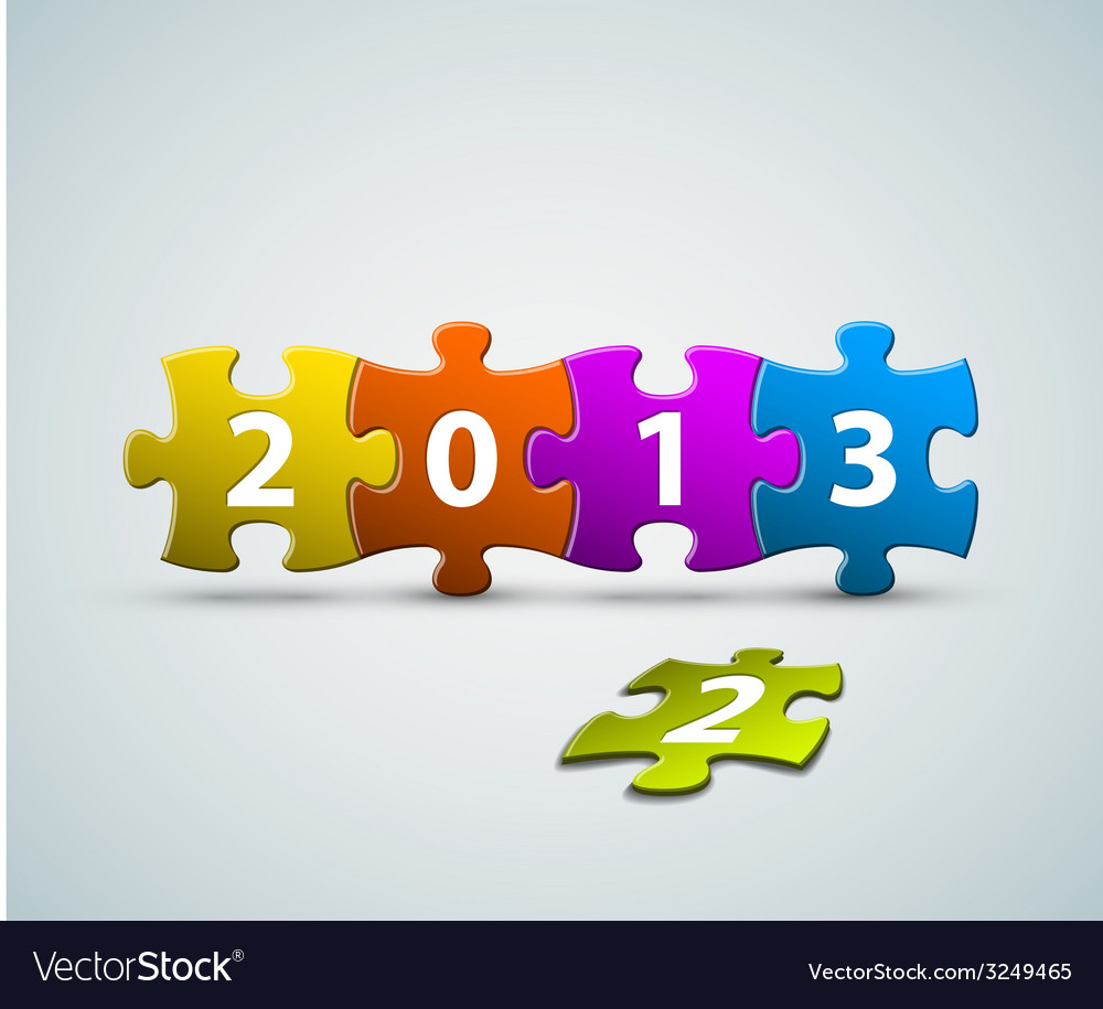 New year 2013 card made from colorful puzzle vector | Price: 1 Credit (USD $1)