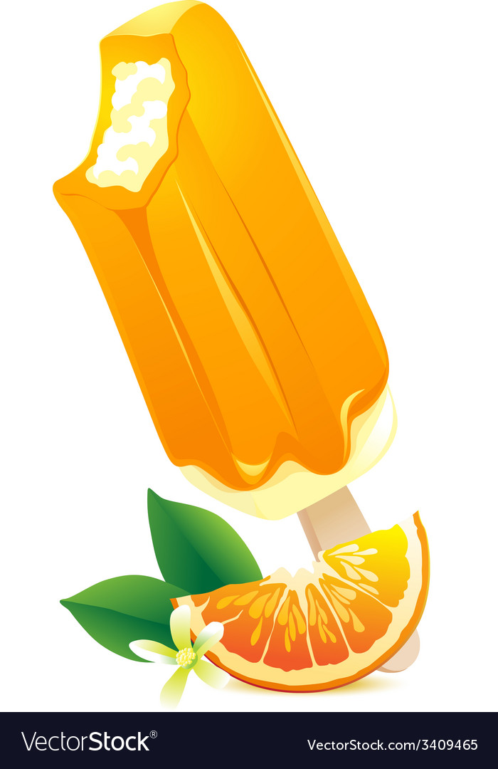 Orange ice-cream with citrus slice summer flavor vector | Price: 1 Credit (USD $1)