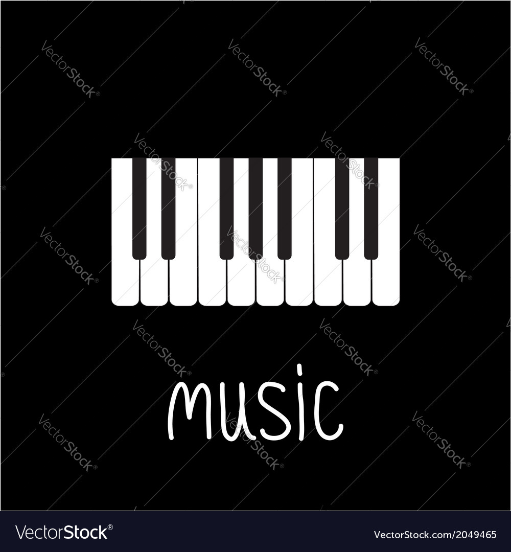 Piano keys and white word music card vector | Price: 1 Credit (USD $1)
