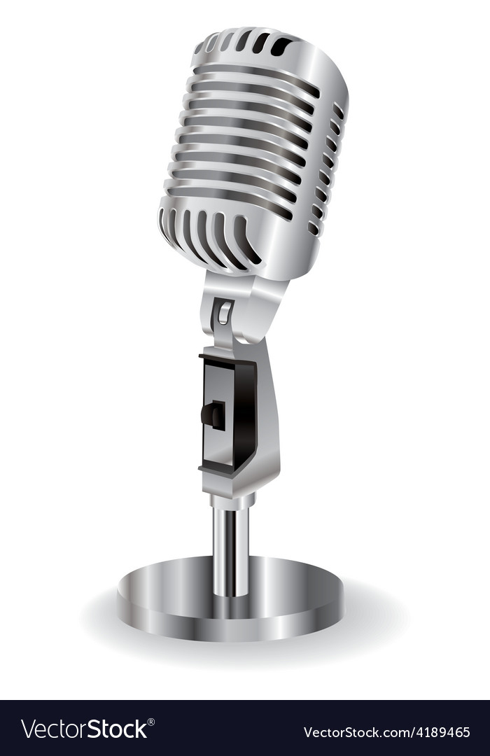 Retro microphone isolated on a white background vector | Price: 1 Credit (USD $1)