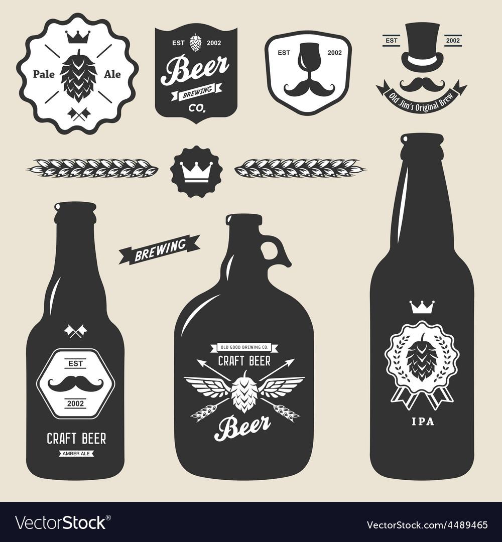 Set of vintage craft beer bottles brewery badges vector | Price: 1 Credit (USD $1)