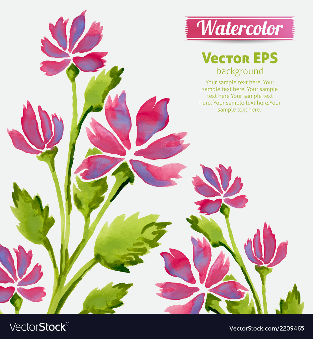 Watercolor flowers invitation pattern with ribbon vector | Price: 1 Credit (USD $1)