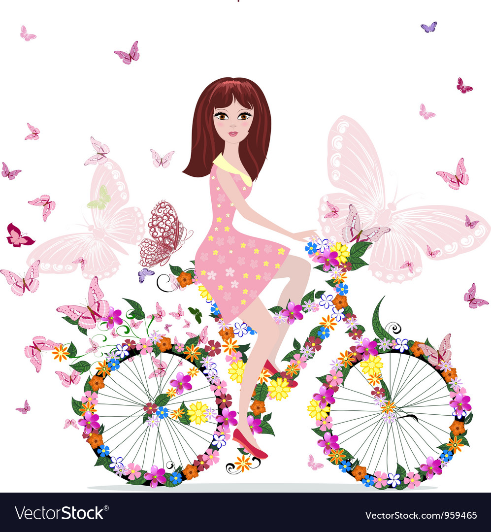 Woman bike vector | Price: 3 Credit (USD $3)