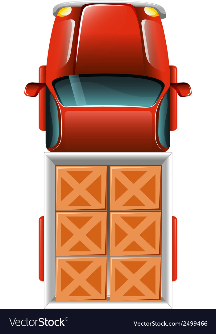A topview of a delivery truck with tiles vector | Price: 1 Credit (USD $1)