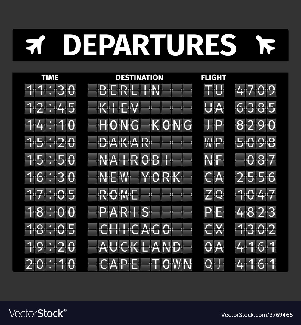 Airport departure board vector | Price: 1 Credit (USD $1)