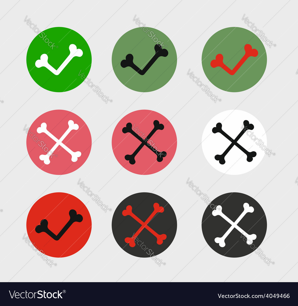 Bone check marks icons vector | Price: 1 Credit (USD $1)