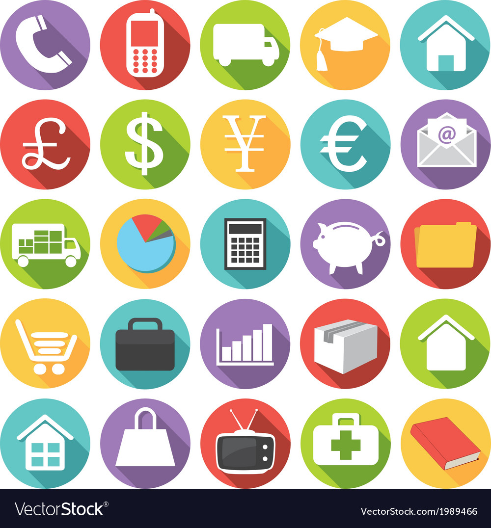 Business finance health and shopping icons vector | Price: 1 Credit (USD $1)