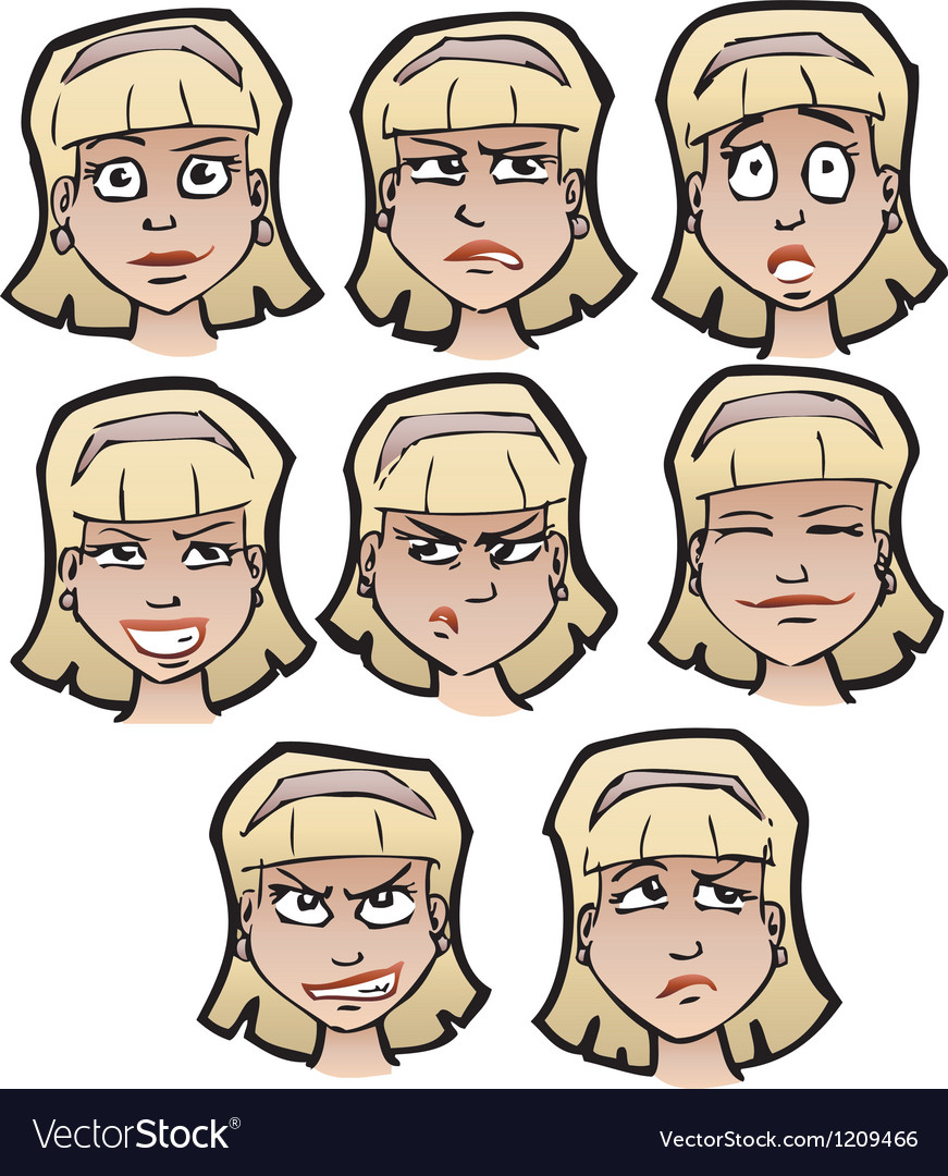 Cartoon emotional faces female vector | Price: 1 Credit (USD $1)