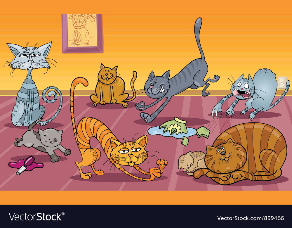Cats at home vector | Price: 3 Credit (USD $3)
