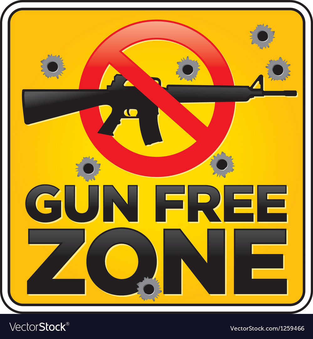 Gun free zone sign with bulletholes vector | Price: 1 Credit (USD $1)