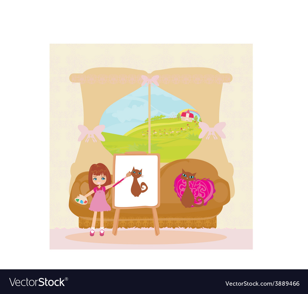 Little artist girl painting cat on large paper vector | Price: 1 Credit (USD $1)
