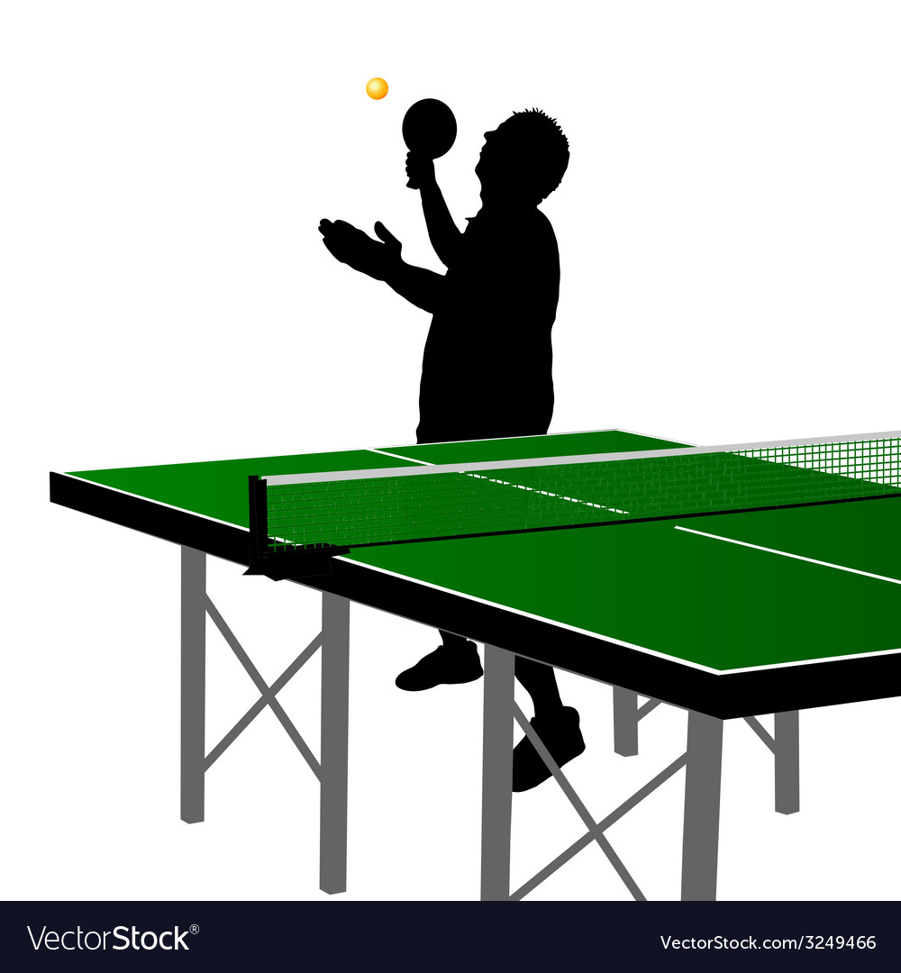 Ping pong player silhouette seven vector | Price: 1 Credit (USD $1)