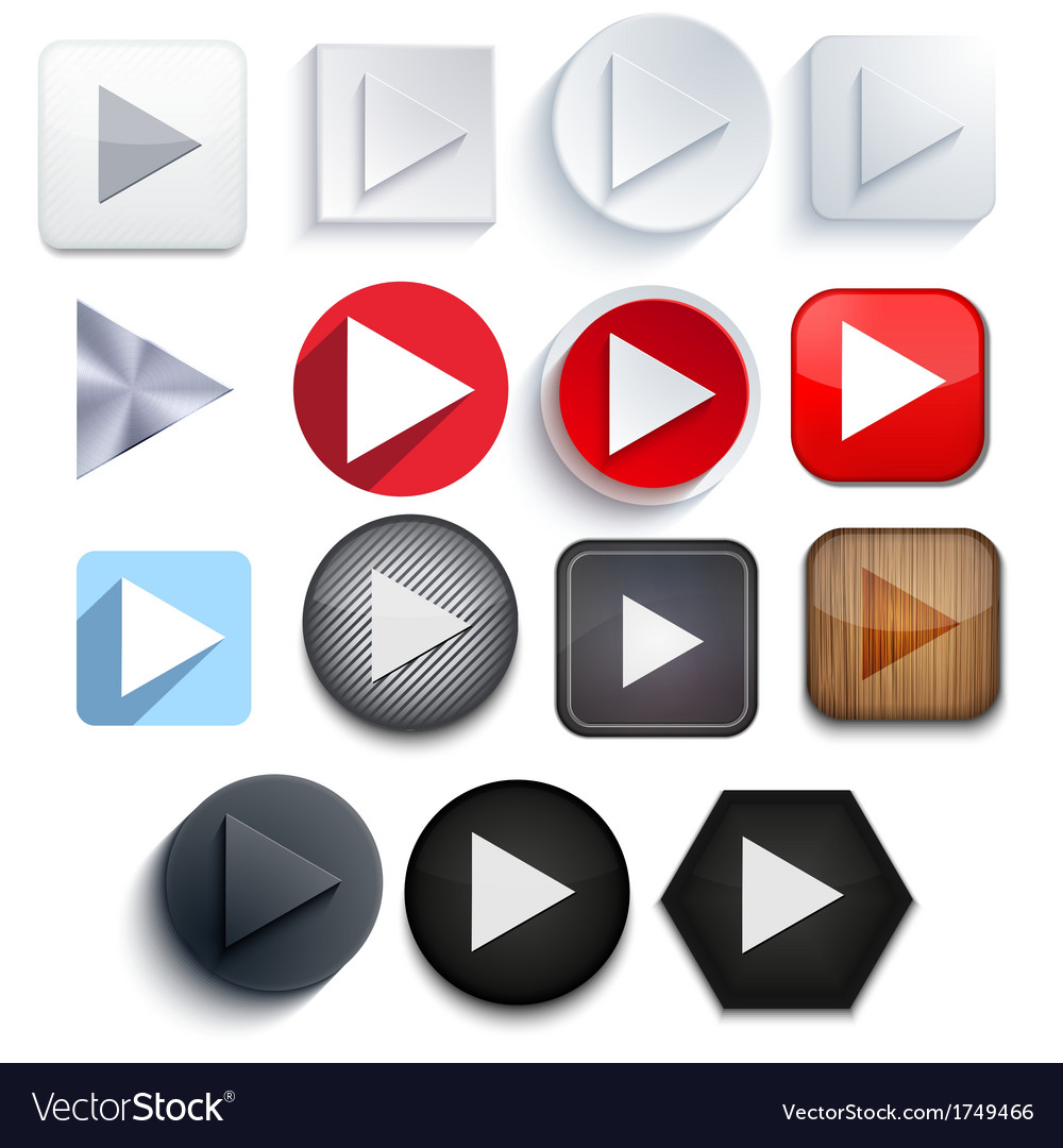 Play icon set on white background eps10 vector | Price: 1 Credit (USD $1)