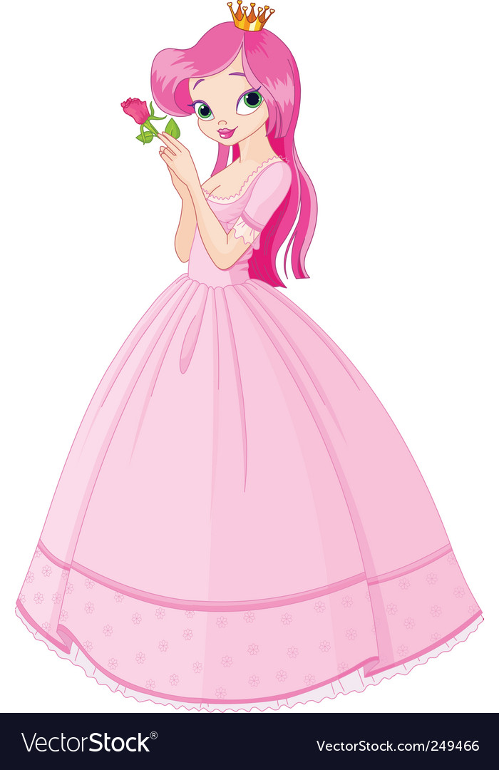 Princess with rose vector | Price: 3 Credit (USD $3)