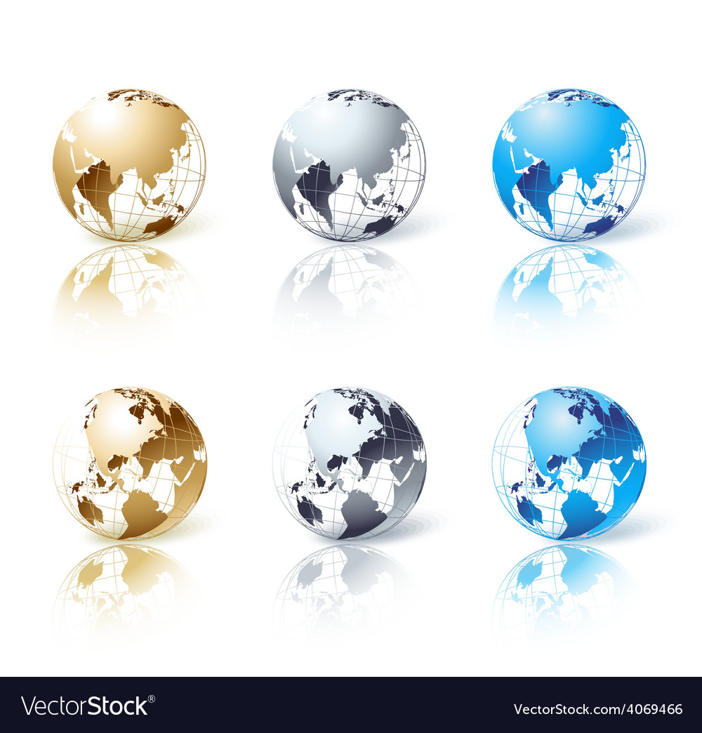 Set of silver gold and blue isolated globe vector | Price: 1 Credit (USD $1)