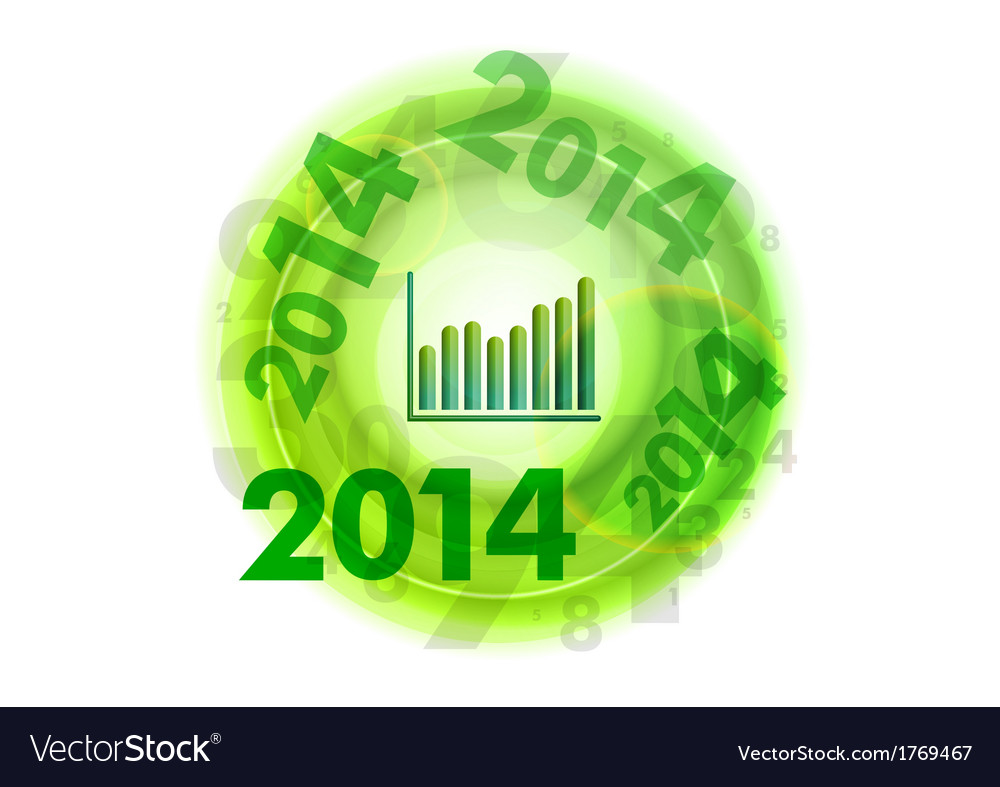 Abstract circle number green up 2014 vector | Price: 1 Credit (USD $1)