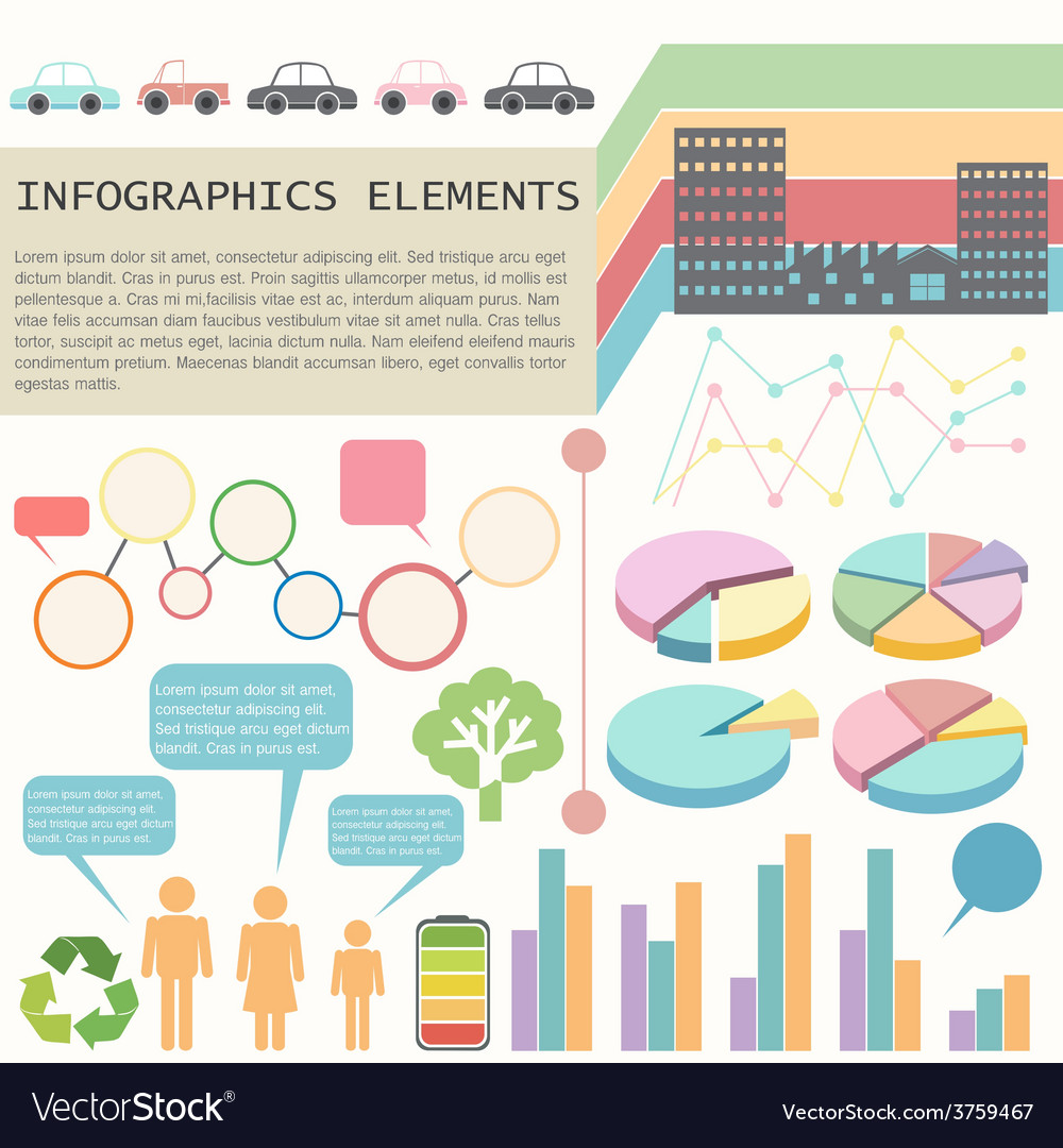 An infochart showing the vehicles and humans vector | Price: 1 Credit (USD $1)