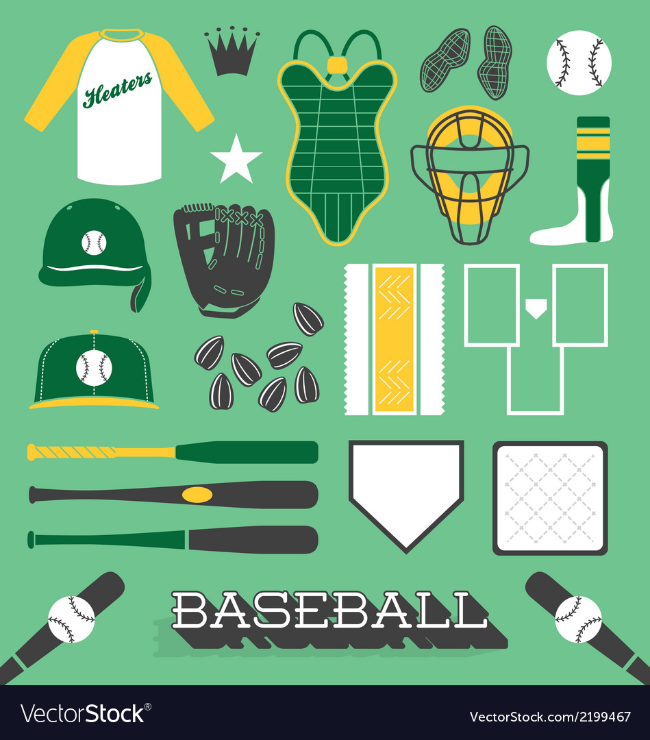 Baseball objects and icons vector | Price: 1 Credit (USD $1)
