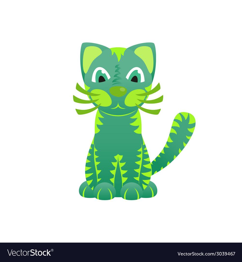 Bright ornamental green cat vector | Price: 1 Credit (USD $1)