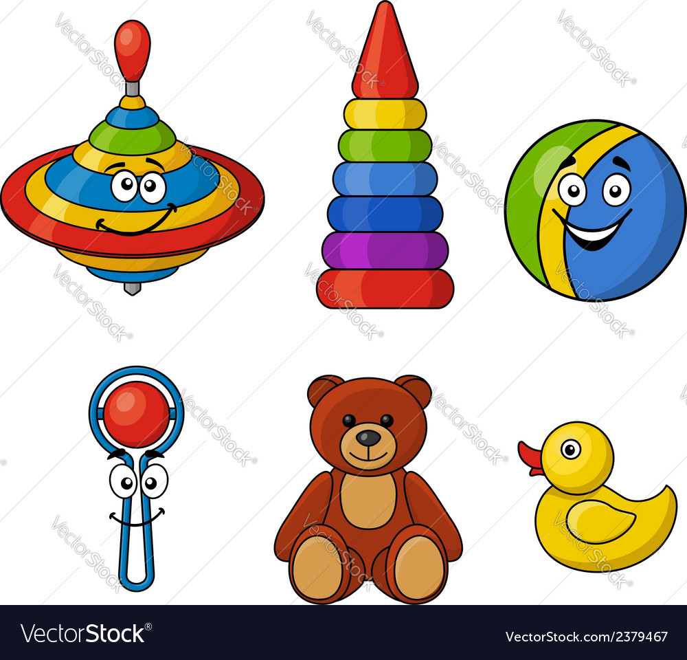 Brightly colored kids toys vector | Price: 1 Credit (USD $1)