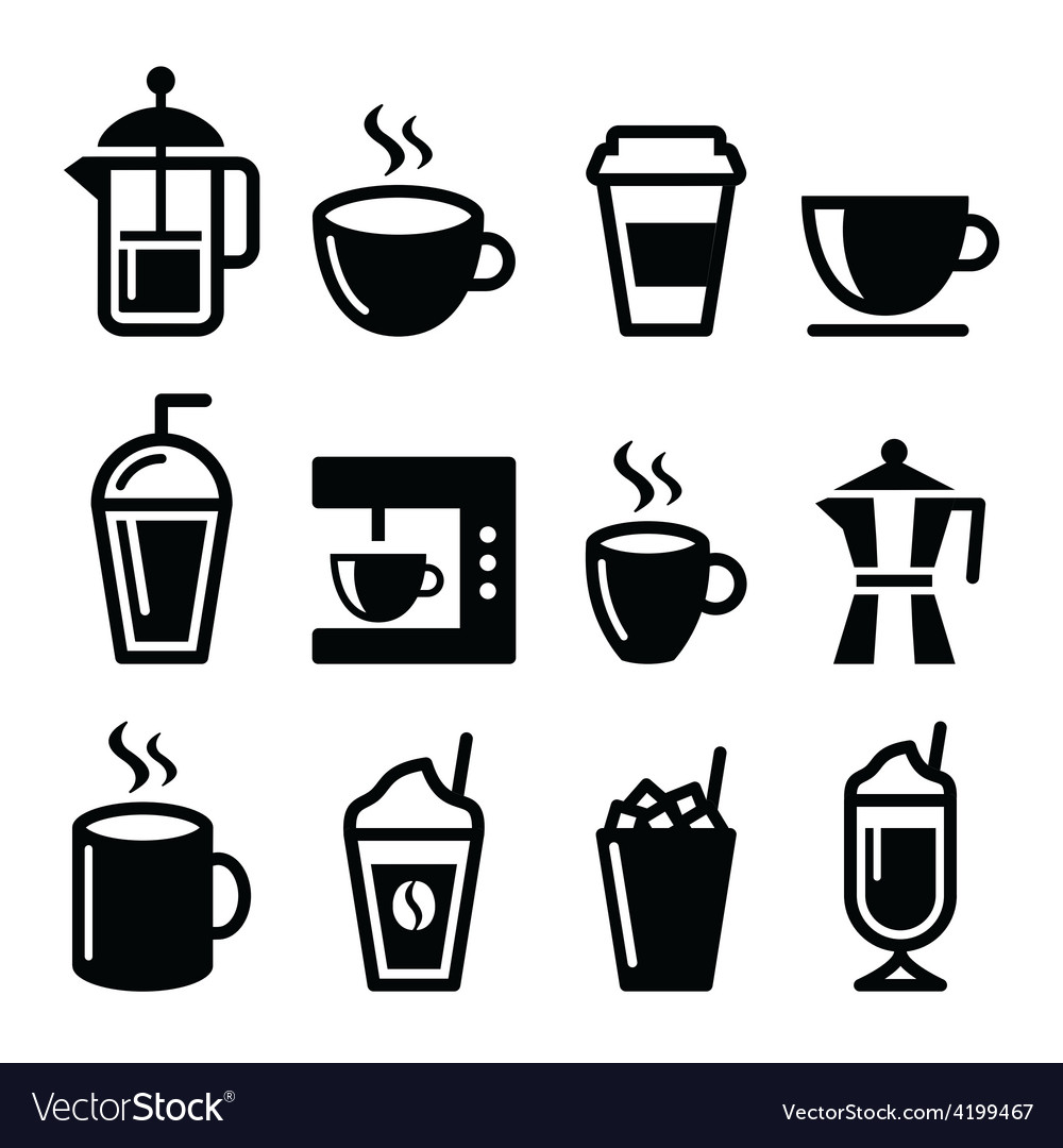 Coffee drinks coffee makers icons set vector | Price: 1 Credit (USD $1)