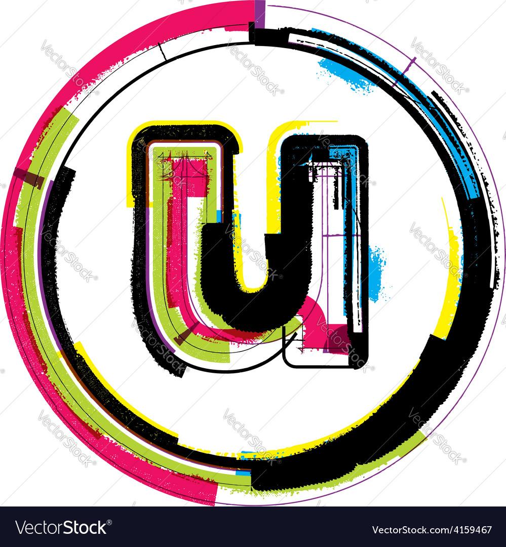 Colorful grunge font letter u vector | Price: 1 Credit (USD $1)