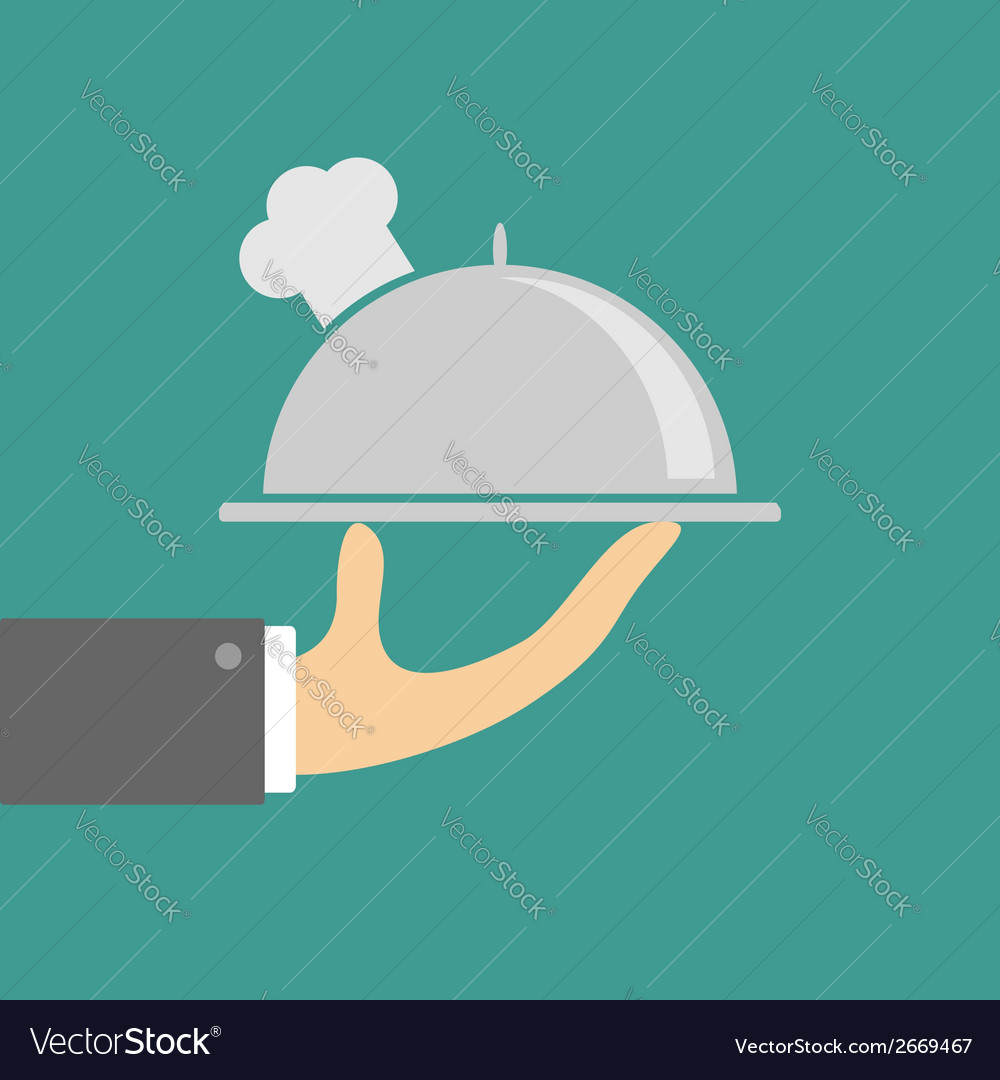 Hand holding silver platter cloche with chefs hat vector | Price: 1 Credit (USD $1)