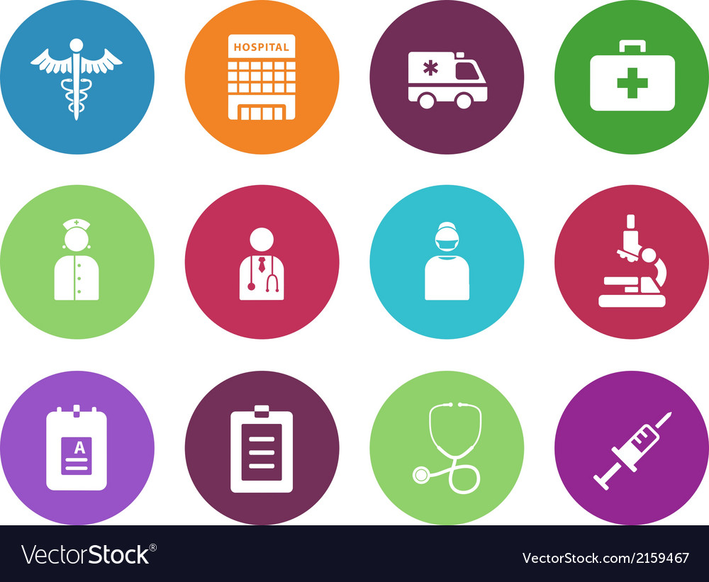 Hospital circle icons on white background vector | Price: 1 Credit (USD $1)