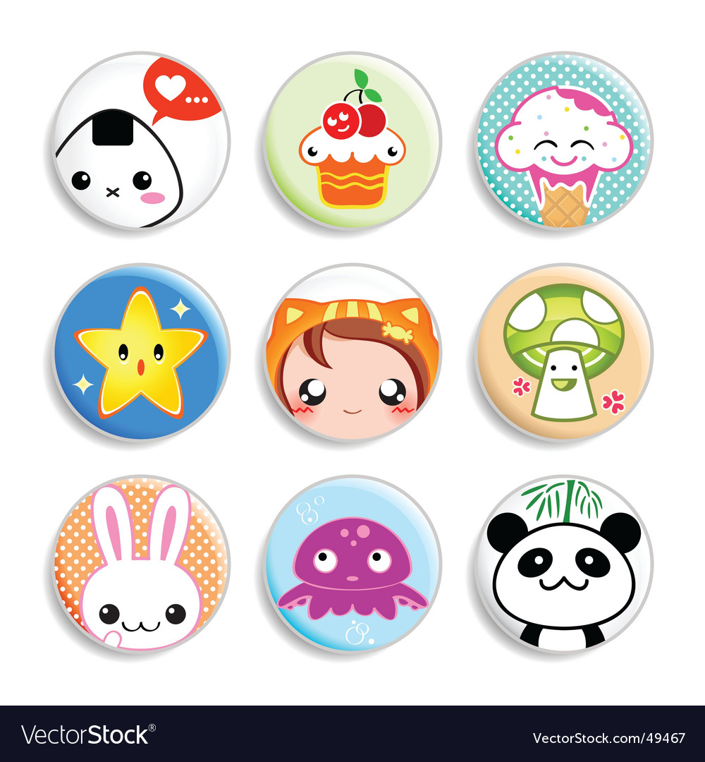 Kawaii badges vector | Price: 3 Credit (USD $3)