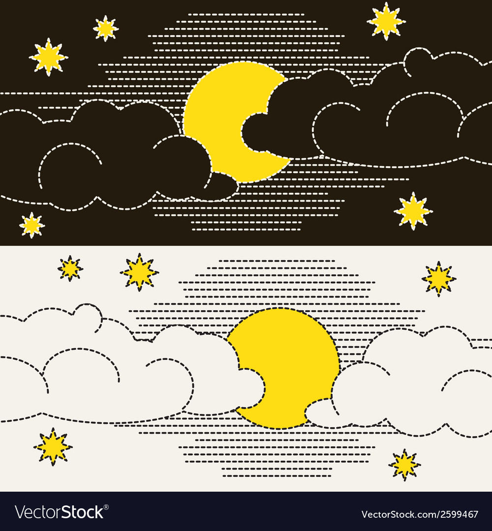 Moon clouds and stars vector | Price: 1 Credit (USD $1)