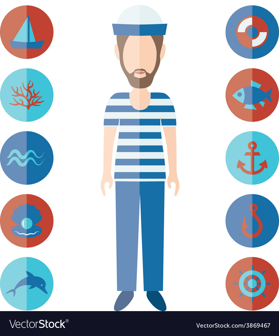 Sailor and icons vector | Price: 1 Credit (USD $1)