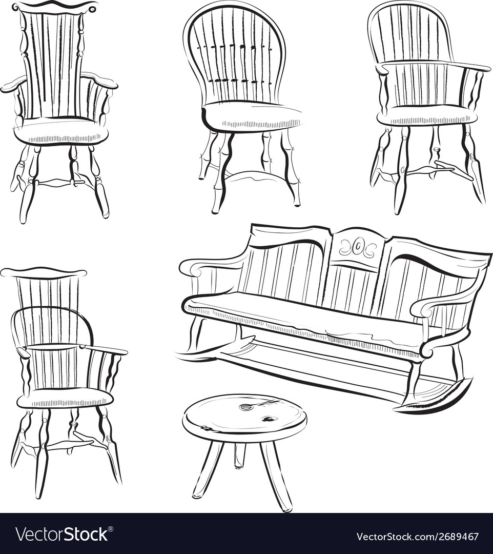 Set of assorted chairs vector | Price: 1 Credit (USD $1)