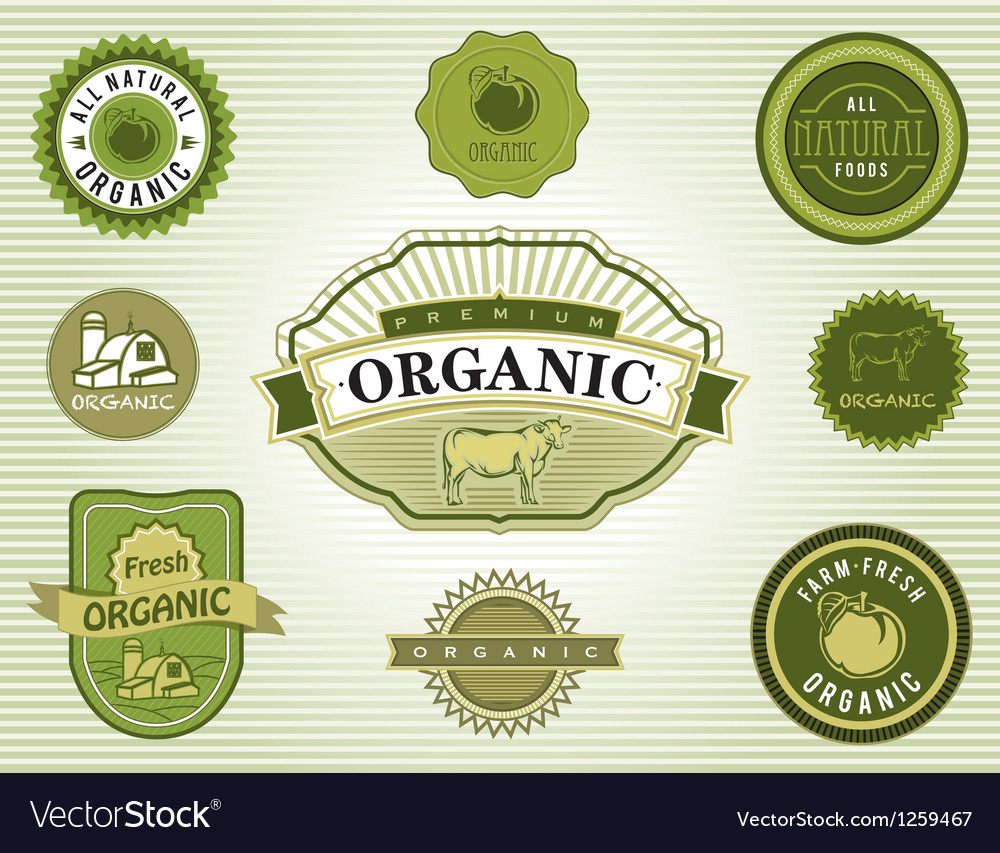 Set of organic food labels vector | Price: 1 Credit (USD $1)