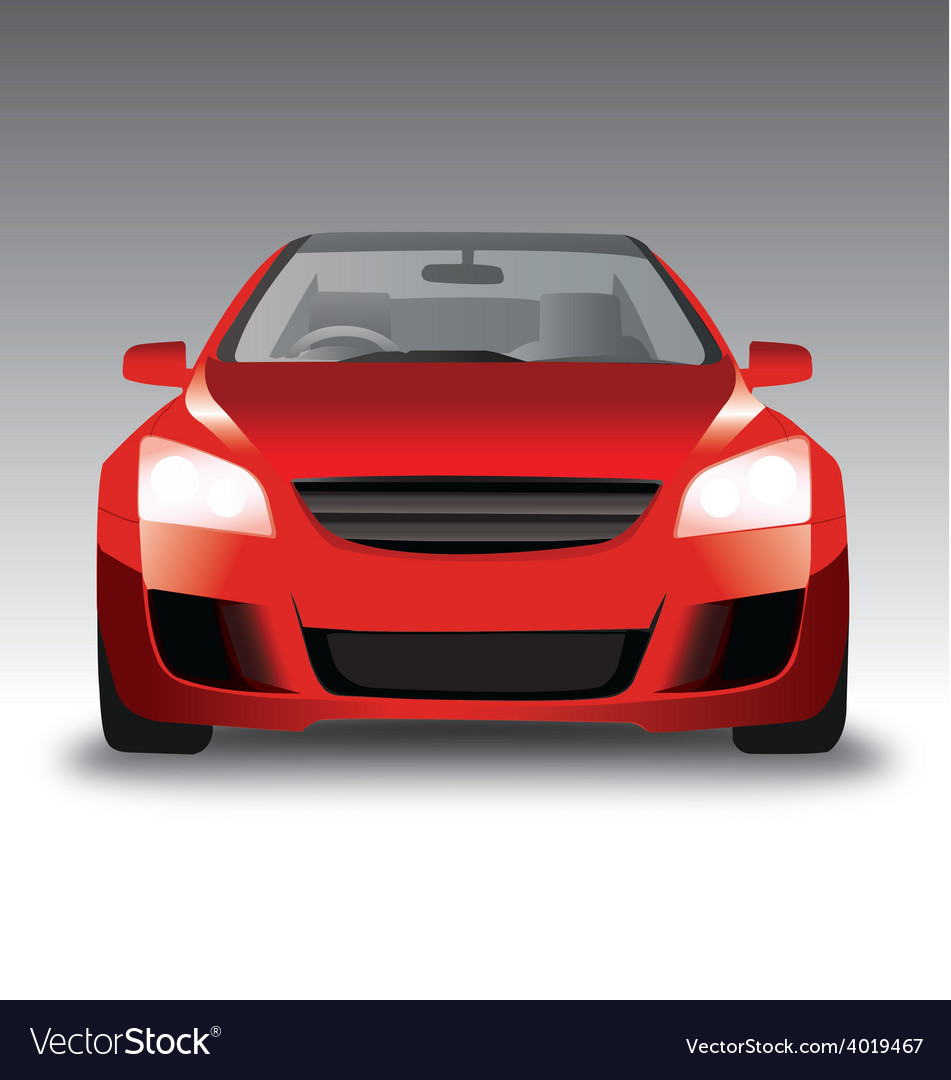 Sports red car front view vector | Price: 1 Credit (USD $1)