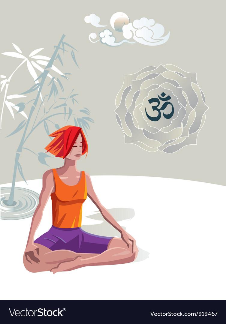 Woman practicing yoga meditation vector | Price: 3 Credit (USD $3)
