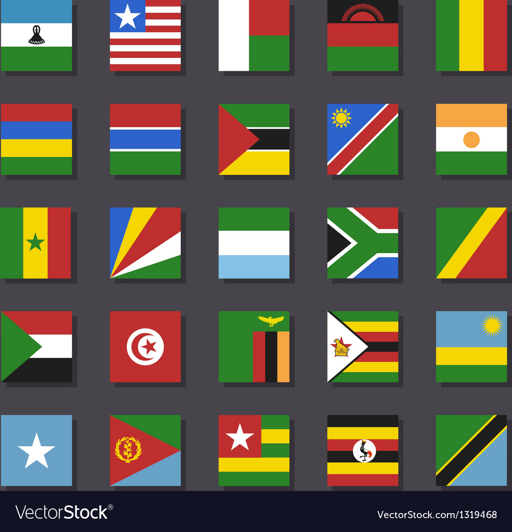 Africa flag icon set metro style vector | Price: 1 Credit (USD $1)