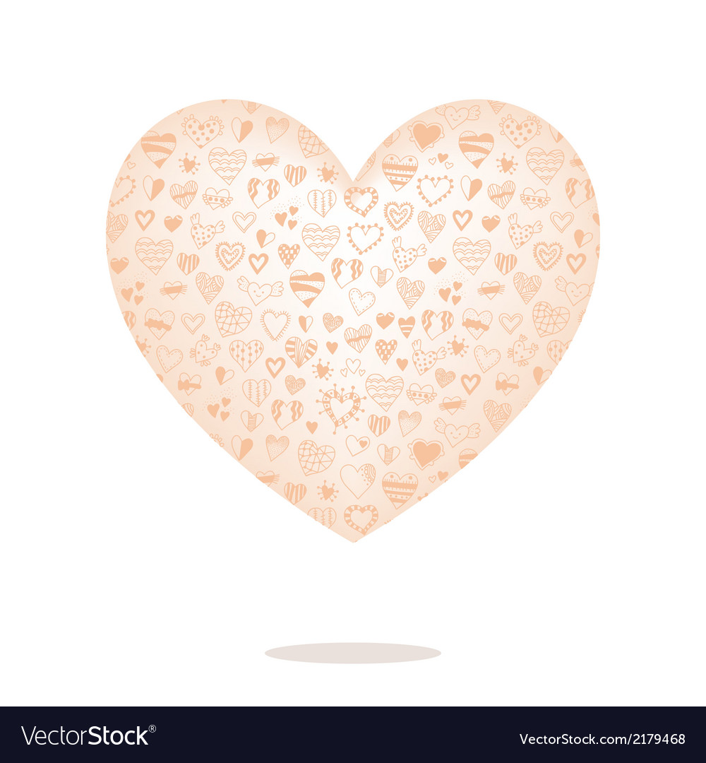 Big heart with pattern isolated on background vector | Price: 1 Credit (USD $1)