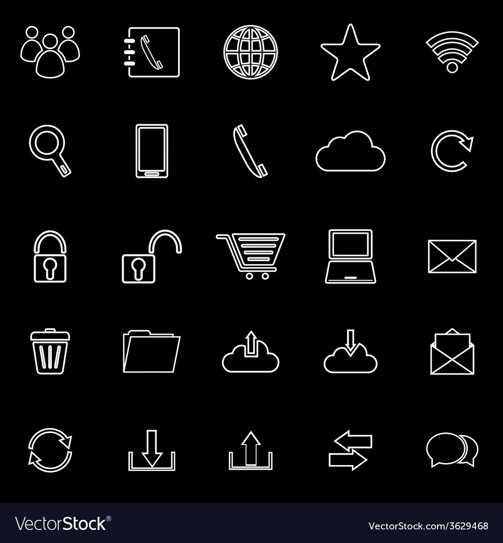 Communication line icons on black background vector | Price: 1 Credit (USD $1)