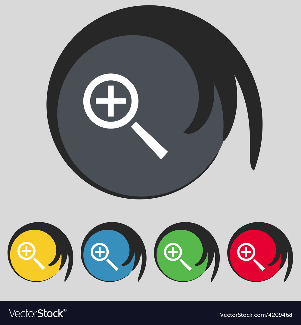 Magnifier glass zoom tool icon sign symbol on five vector   Price: 1 Credit (USD $1)