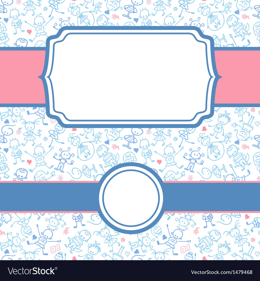 Playing children frame seamless pattern background vector | Price: 1 Credit (USD $1)