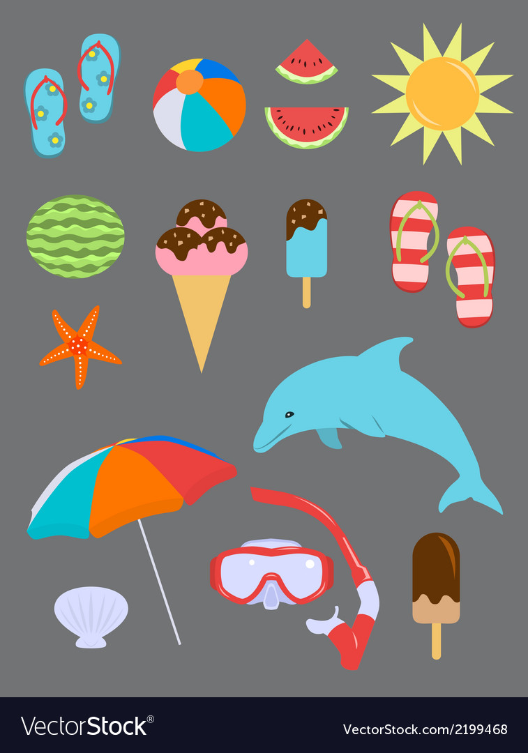 Set of summer fun objects vector | Price: 1 Credit (USD $1)